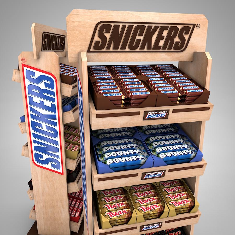 Snickers regál s naklápateľnými policami