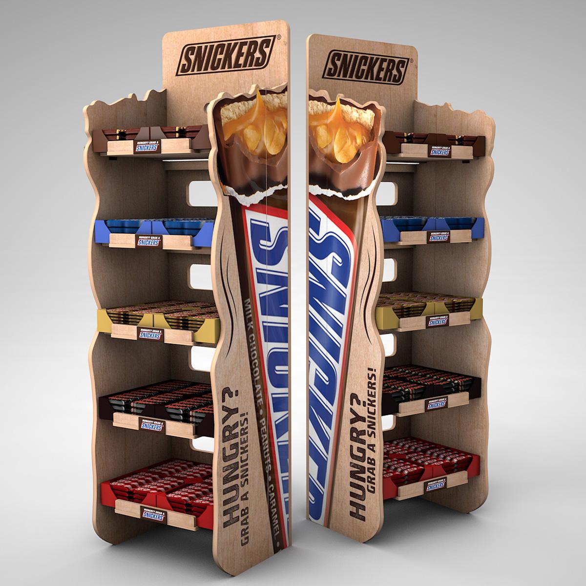 Skladateľný regál pre Snickers