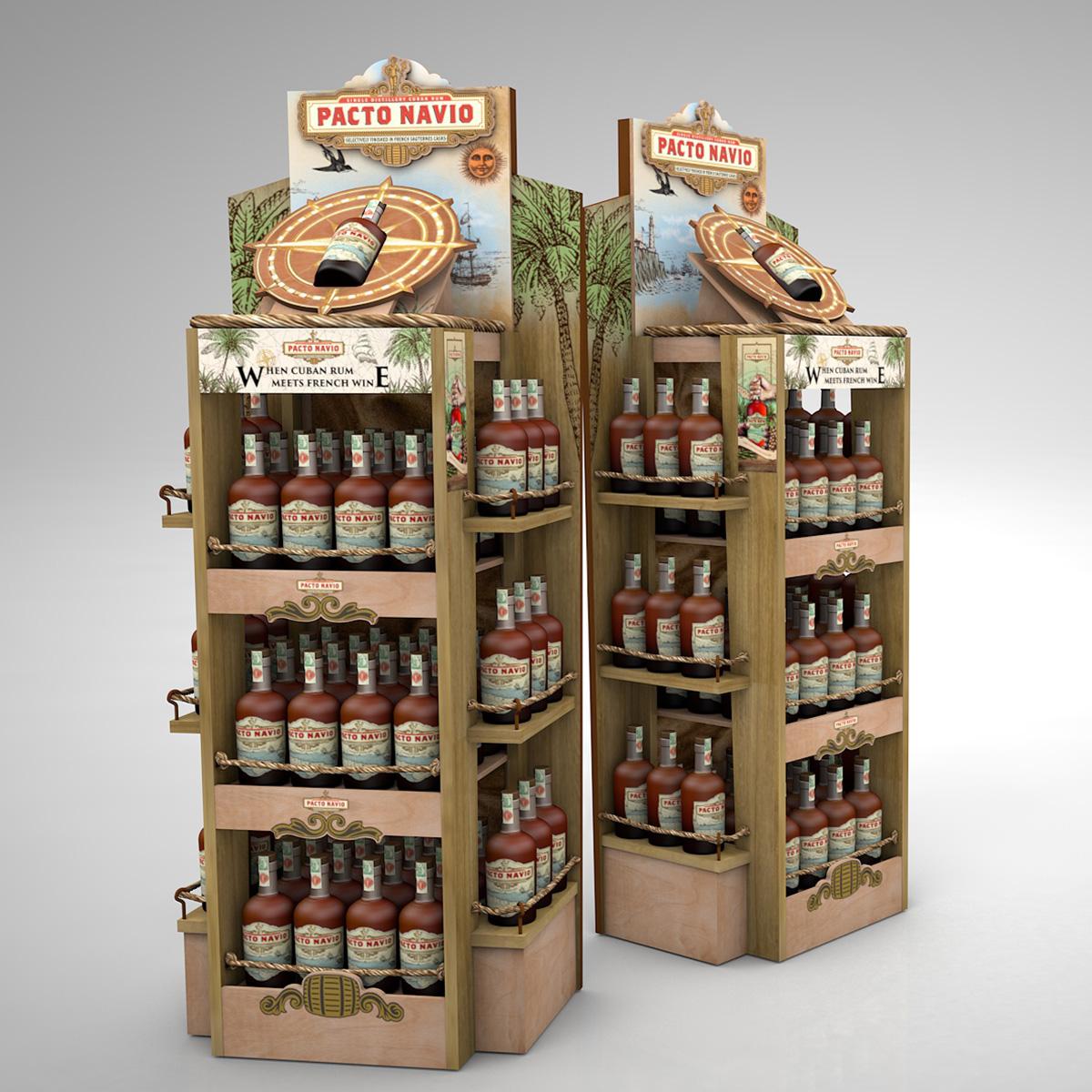Exkluzívny drevený displej pre Pacto Navio rum, Pernod