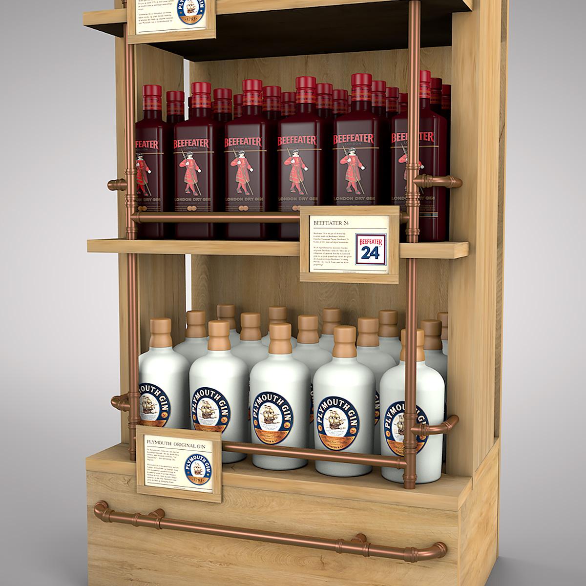 Exkluzívny drevený displej s medenými rúrkami pre špeciálny výber Ginov od Pernod